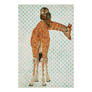 Affiche ambre d'art de girafe et de hibou de Teal