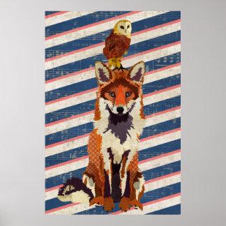 Affiche ambre d'art de rayures de Fox et de hibou