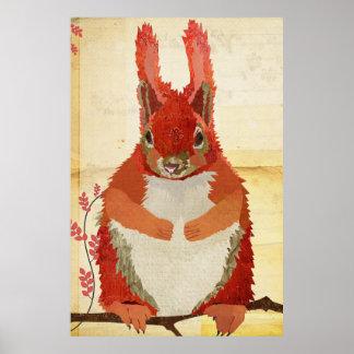Affiche ambre d'art d'écureuil