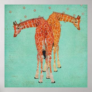 Affiche ambre de nuit étoilée de girafes