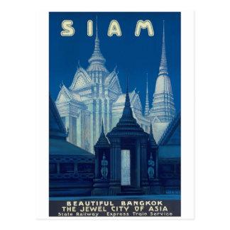 Affiche antique de voyage de temples du Siam Carte Postale