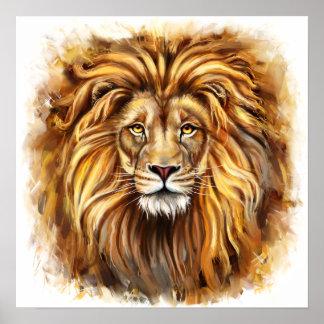 Affiche artistique de visage de lion
