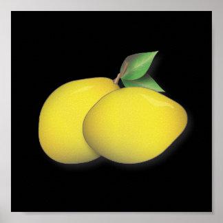 Affiche audacieuse et moderne de duo de citron de