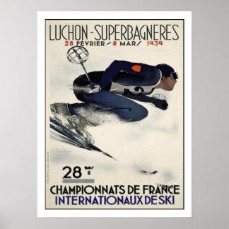 Affiche avec l affiche fraîche de ski de France