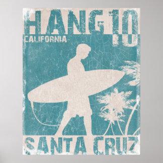 Affiche avec la copie de surfer de Santa Cruz Posters