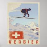 Affiche avec la copie vintage de ski de la Suisse