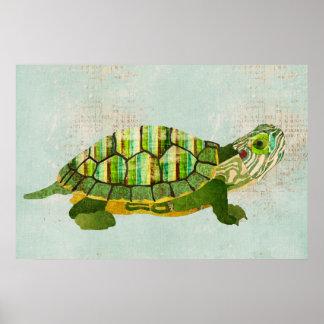 Affiche azurée d'art de tortue de jade