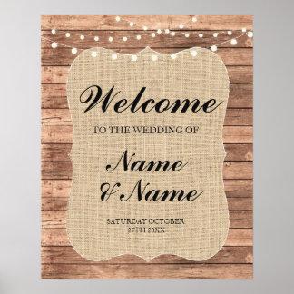 Affiche bienvenue en bois de mariage de signe de poster