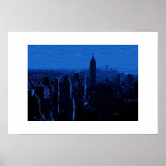 Affiche blanche bleue de frontière de New York