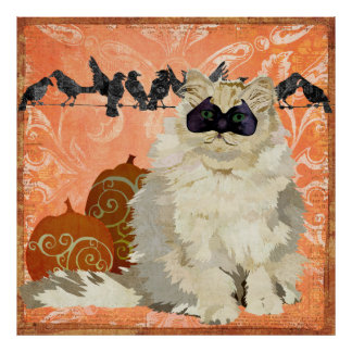 Affiche blanche de chat de mascarade