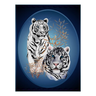 Affiche blanche d'ovale de deux tigres