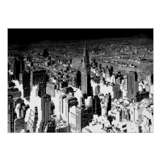 Affiche blanche noire de panorama de New York City