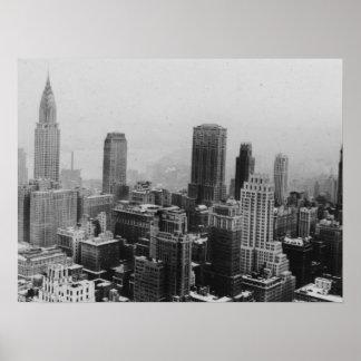 Affiche blanche noire de panorama de New York