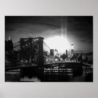 Affiche blanche noire de pont de New York City