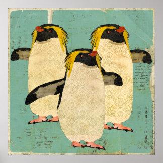 Affiche bleue d'art de lagune de pingouins
