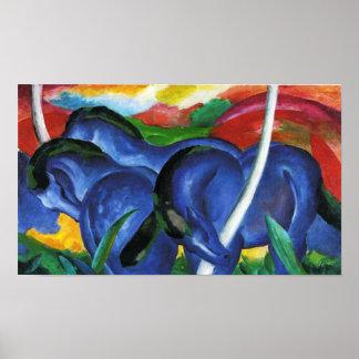Affiche bleue de chevaux de Franz Marc