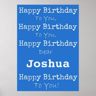 Affiche bleue de joyeux anniversaire