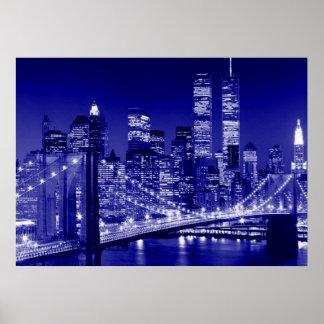 Affiche bleue de nuit de New York City