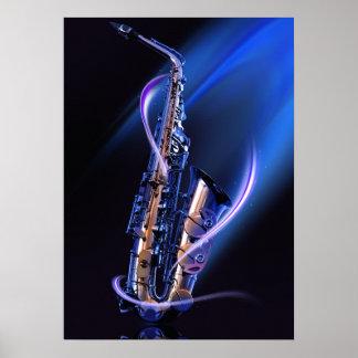Affiche bleue de saxophone