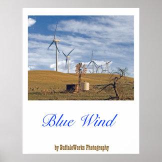 Affiche bleue de vent