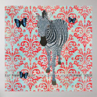 Affiche bleue de zèbre de Boho et de damassé de