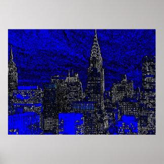 Affiche bleue d'illustration de nuit de New York