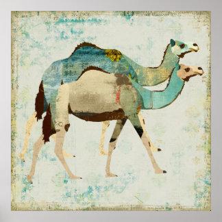 Affiche bleue rêveuse d'art de chameaux
