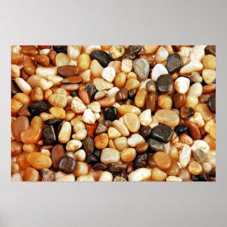 Affiche brillante de cailloux de plage de Brown