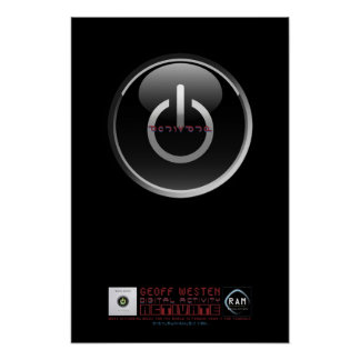 Affiche brillante noire de bouton de Geoff Westen