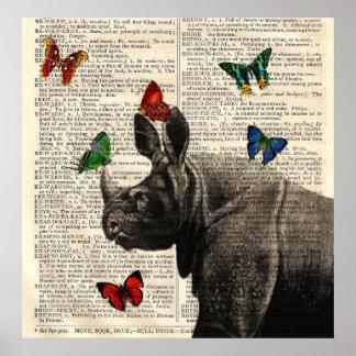Affiche changée de papillons de rhinocéros d'art posters