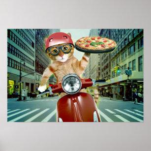 Affiche chat de pizza - chat - la livraison de pizza