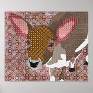 Affiche chérie vintage d'art de cerfs communs
