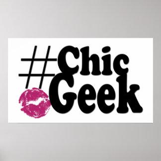 Affiche chic de baiser de geek de Hashtag