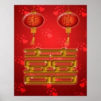 Affiche chinoise de bonheur de double de mariage
