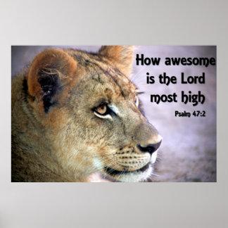 Affiche chrétienne avec le puma et la bible Vers