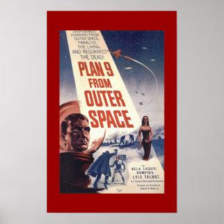 """Affiche classique de film """"plan 9 d'espace extra-a posters"""