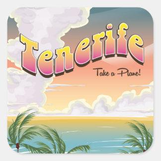 Affiche classique de vacances de plage de Ténérife Sticker Carré
