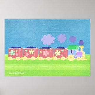 Affiche colorée de train de Choo Choo