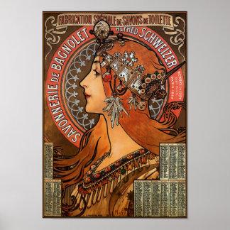 """Affiche/copie : Mucha - """"Savonnerie de Bagnolet """" Poster"""