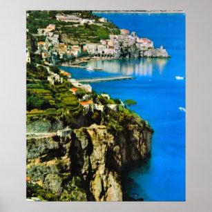 Affiche Côte de l'Italie vintage, Amalfi