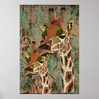 Affiche d art de damassé de girafes de Rosa