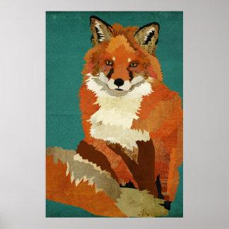 Affiche d art de Fox rouge