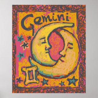 Affiche d art de zodiaque de Gémeaux