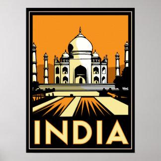 affiche d art déco du Taj Mahal Inde rétro