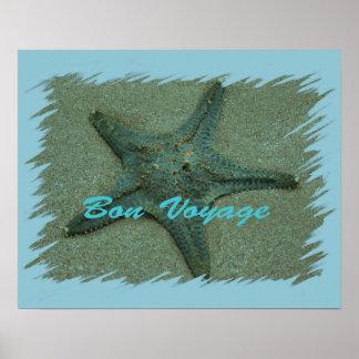 Affiche d étoiles de mer de voyage de fève
