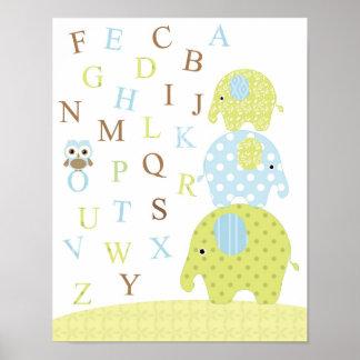 Affiche d'alphabets de hibou d'éléphants poster