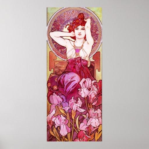 Affiche d'améthyste d'Alphonse Mucha