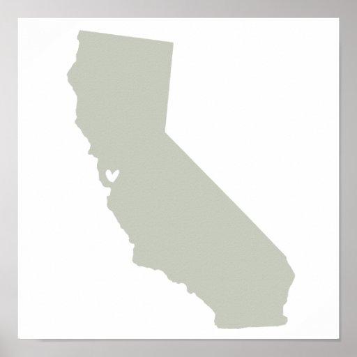 Affiche d'amour de Santa Clara, la Californie