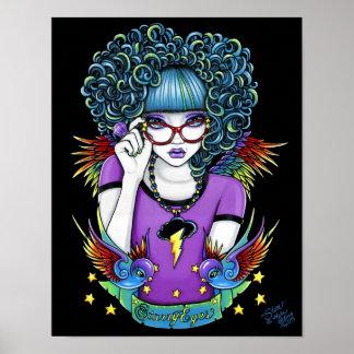 Affiche d'ange de tatouage d'hirondelle d'arc-en-c