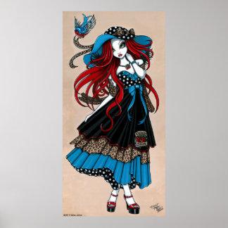 Affiche d'ange de tatouage d'hirondelle de rockabi